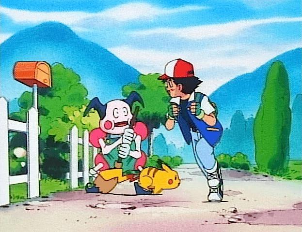 ash ketchum running mr. mime pikachu leaving