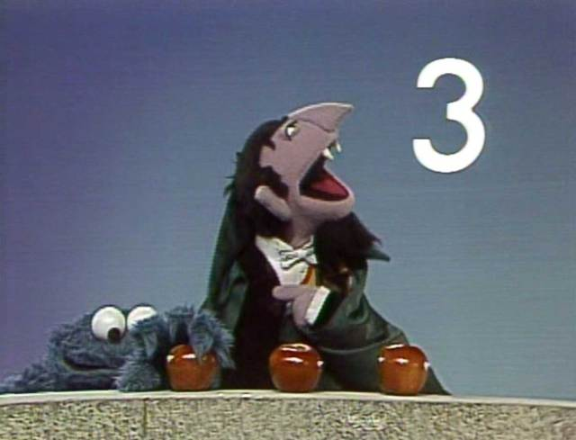 count von count three cookie monster apples