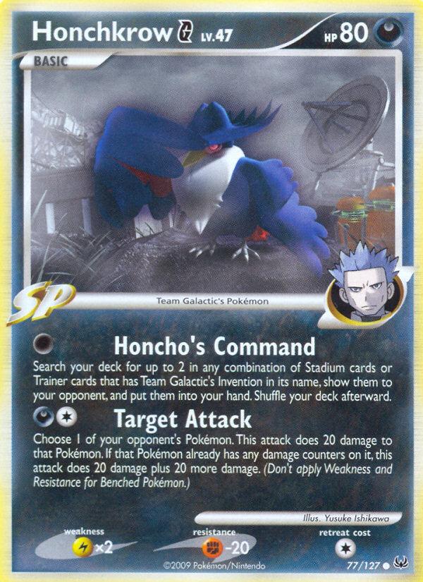 Honchkrow G Platinum PL 77 Pokemon Card